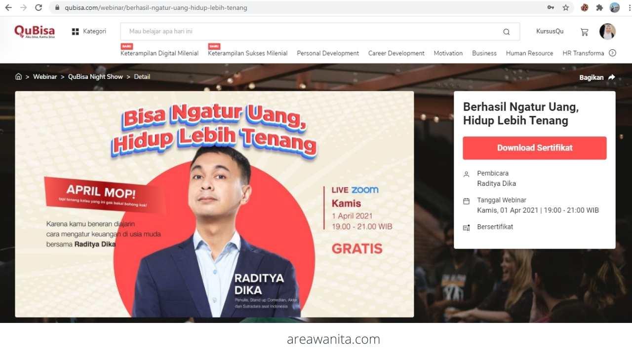 Webinar Cara Mengatur Keuangan di QuBisa oleh Raditya Dika